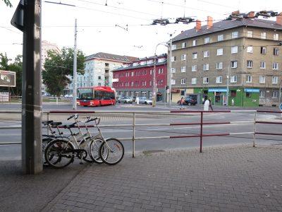Cyklostojan pri Saleziánoch v Bratislave.